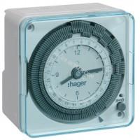 Таймер аналоговый, суточный, 16А, 1 переключающий контакт, без резерва хода Hager EH710