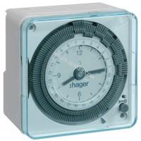 Таймер аналоговый, суточный, 16А, 1 переключающий контакт, запас хода 200 часов Hager EH711