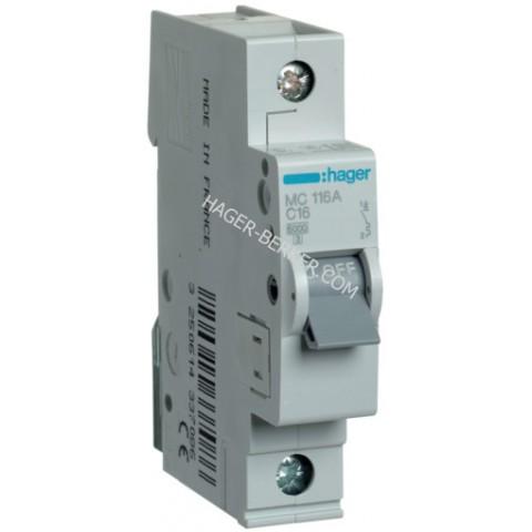 Автоматический выключатель In=16А, 1п, С, 6 kA, 1м Hager MC116A