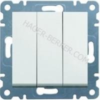 Выключатель 3-клавишный Lumina-2, белый, 10АХ/230В Hager WL0070