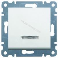 Выключатель с подсветкой универсальный Lumina-2, белый, 10АХ/230В Hager WL0220